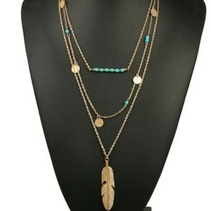 3layered turquoise feather necklace